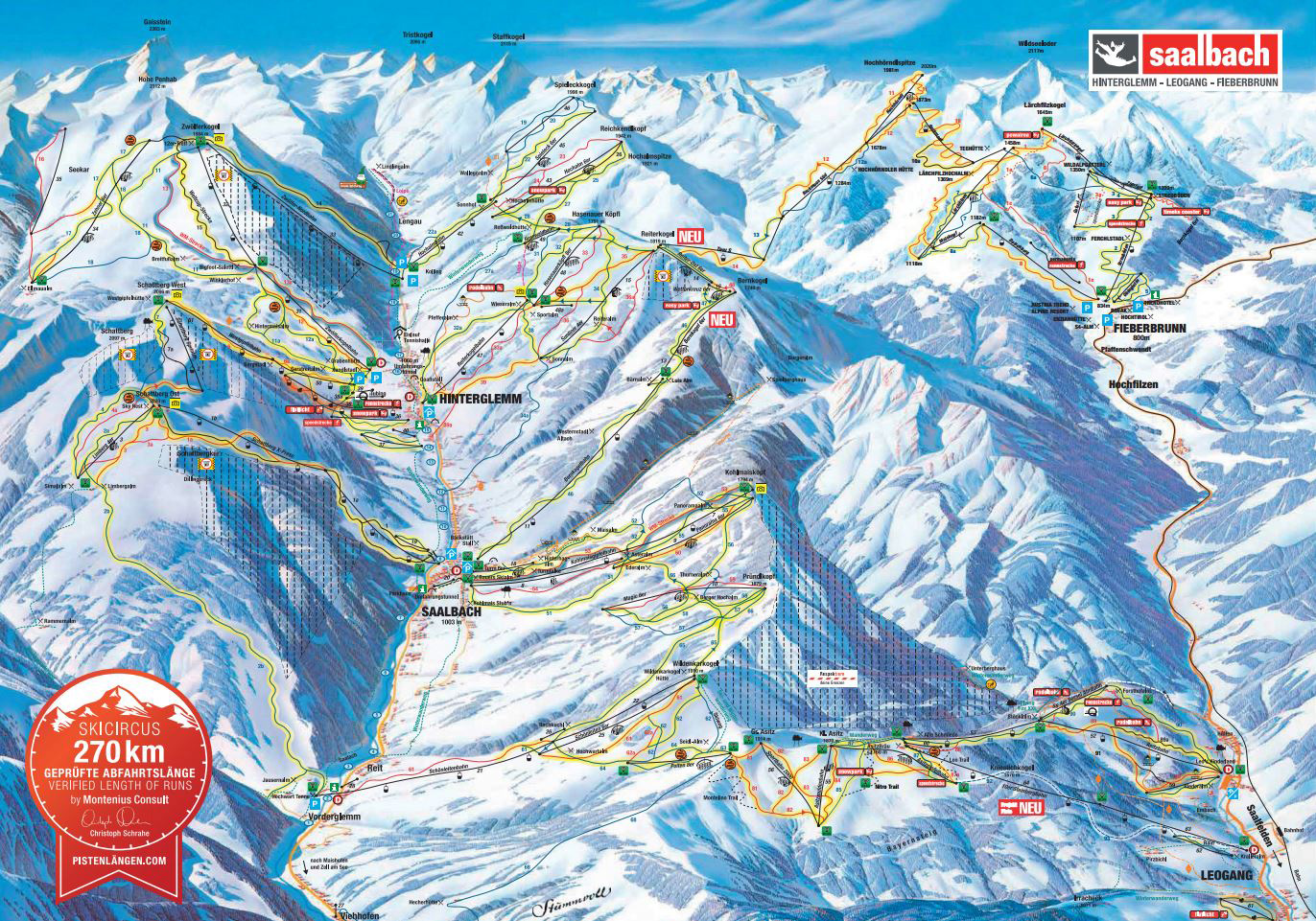 Hinterglemm Piste Map