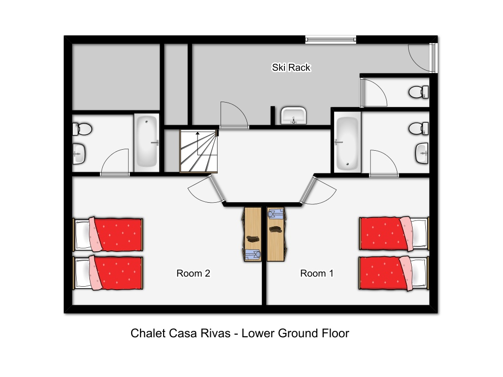 I chalet casa rivas val d 39 isere france for Ski chalet floor plans